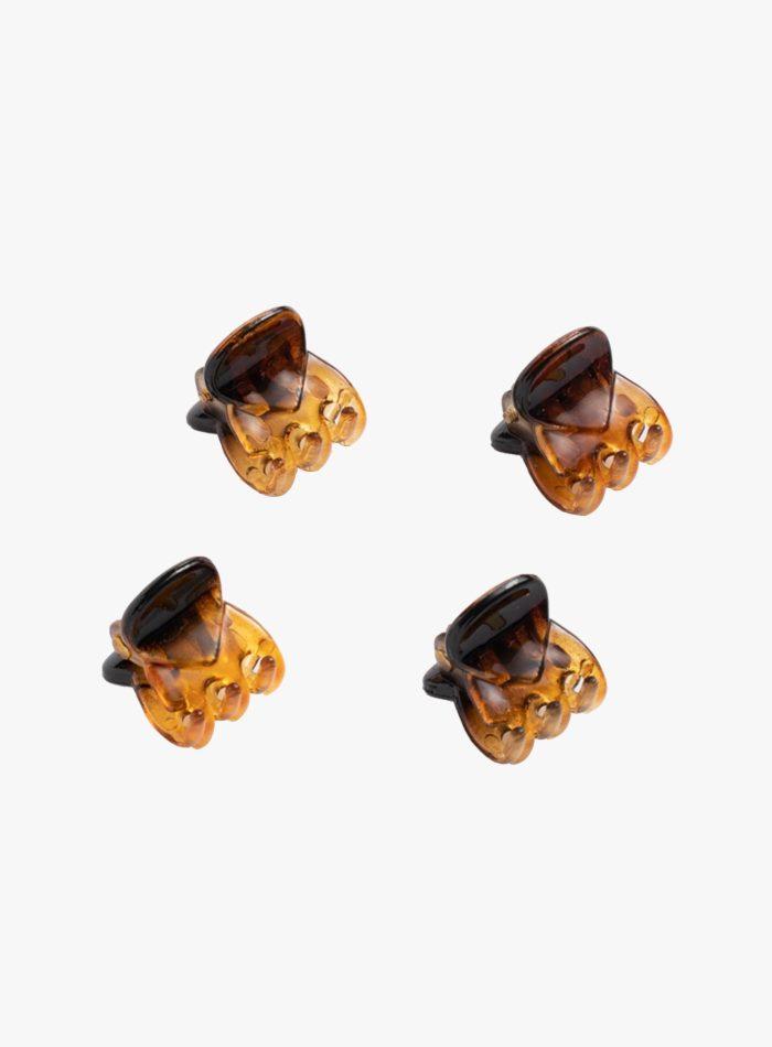 Set da 4 mini pinzette capelli colore tartaruga