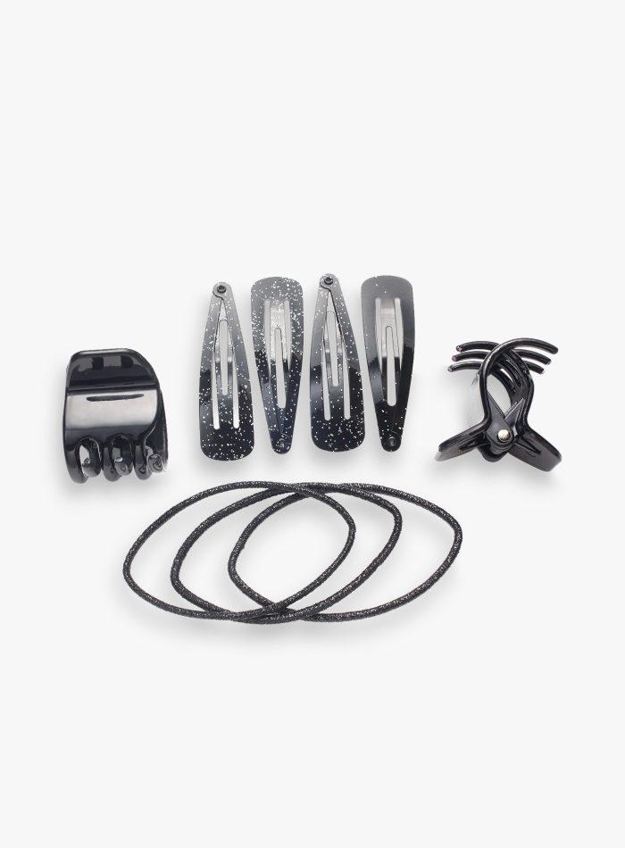 Set nero pinzette, clic-clac ed elastici