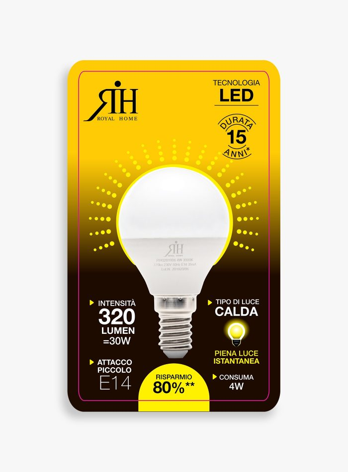 Lampadina led 30 watt a sfera calda a+