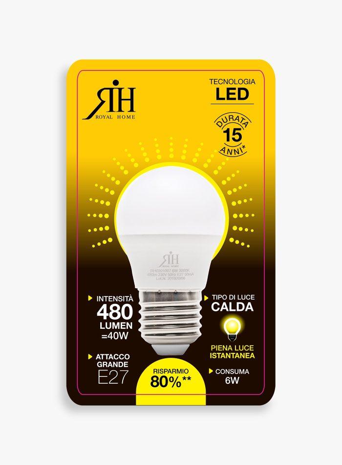 Lampadina led 40 watt a sfera calda a+